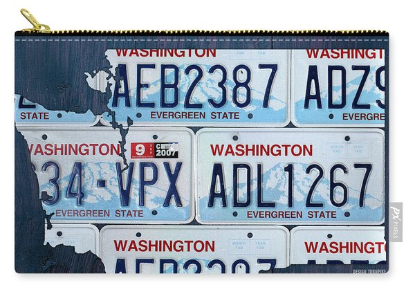 Washington State License Plate Map Art Carry-all Pouch