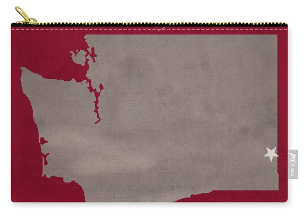 Washington State University Cougars Pullman College Town State Map Poster Series No 123 Carry-all Pouch