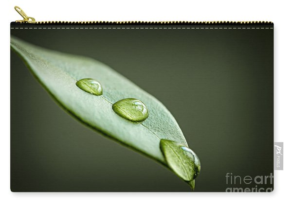 Water Drops On Green Leaf Carry-all Pouch