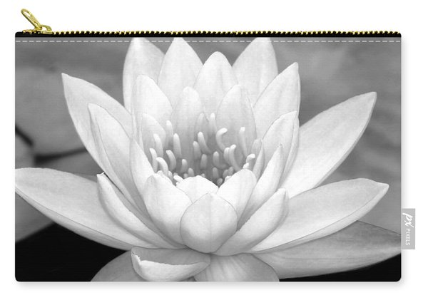 Water Lily In Black And White Carry-all Pouch