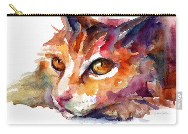 Watercolor Orange Tubby Cat Carry-all Pouch