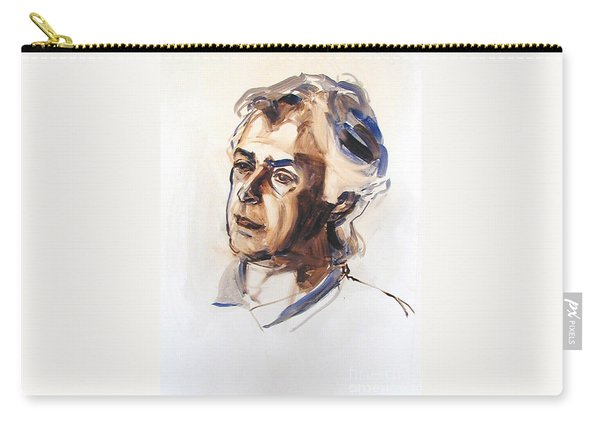 Watercolor Portrait Sketch Of A Man In Monochrome Carry-all Pouch