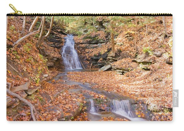 Carry-all Pouch featuring the photograph Waterfall In The Fall by Susan Leonard