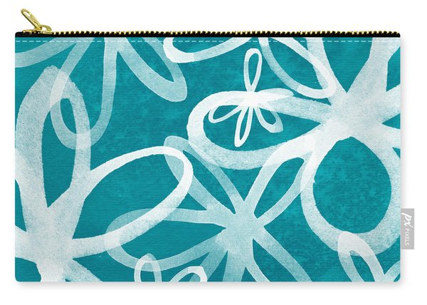 Waterflowers- Teal And White Carry-all Pouch