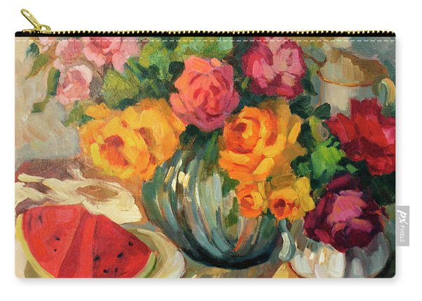Watermelon And Roses Carry-all Pouch