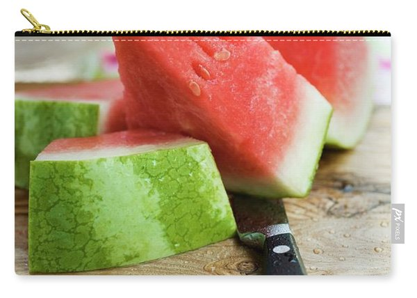 Watermelon, Cut Into Pieces, On A Wooden Board Carry-all Pouch