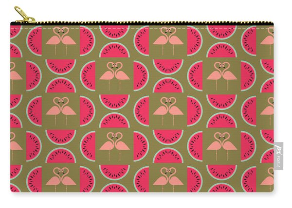 Watermelon Flamingo Print Carry-all Pouch