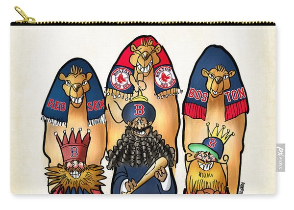 Carry-all Pouch featuring the digital art We Three Red Sox Fans by Mark Armstrong
