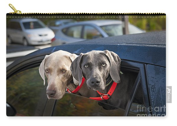 Weimaraner Dogs In Car Carry-all Pouch