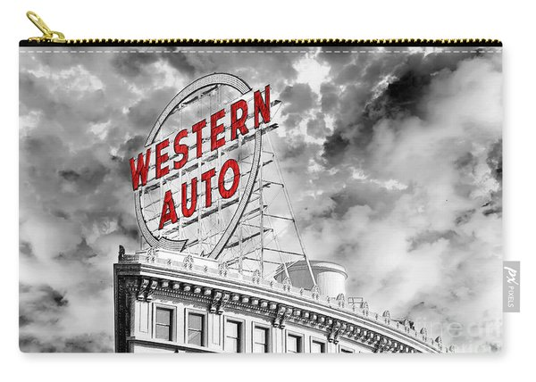 Western Auto Sign Downtown Kansas City B W Carry-all Pouch