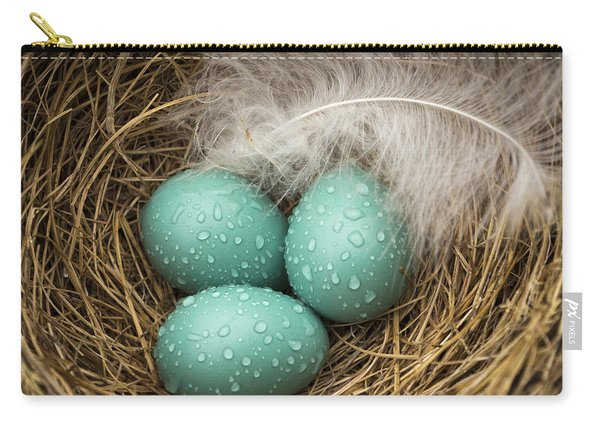 Wet Trio Of Robins Eggs Carry-all Pouch