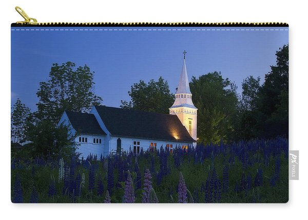 White Church At Dusk In A Field Of Lupines Carry-all Pouch