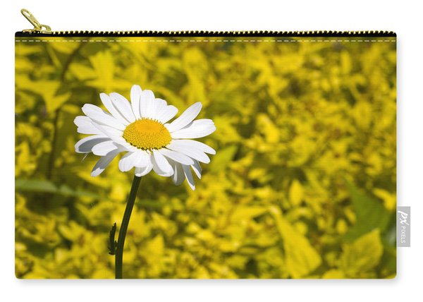 White Daisy In Yellow Garden Carry-all Pouch