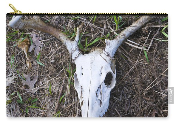 White Deer Skull In Grass Carry-all Pouch