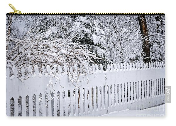 White Fence With Winter Trees Carry-all Pouch