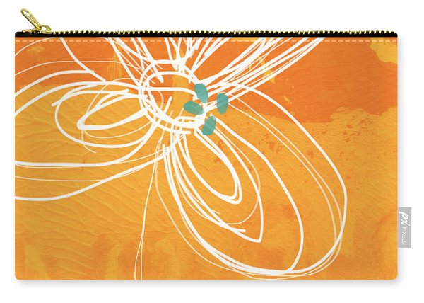 White Flower On Orange Carry-all Pouch
