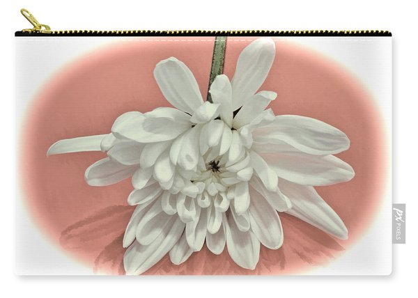 White Flower On Pale Coral Vignette Carry-all Pouch