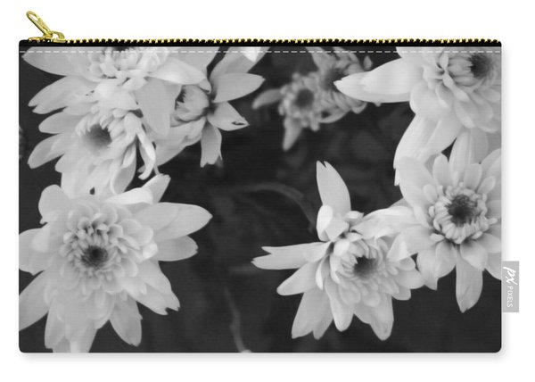 White Flowers- Black And White Photography Carry-all Pouch