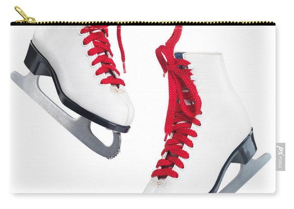 White Ice Skates With Red Laces Carry-all Pouch