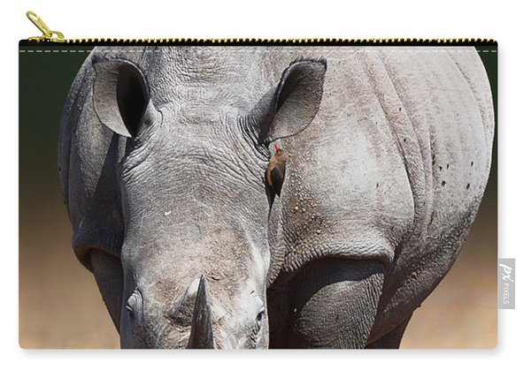 White Rhinoceros  Front View Carry-all Pouch