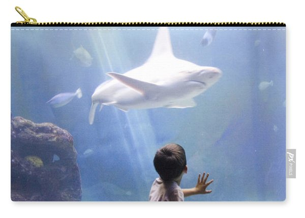 White Shark And Young Boy Carry-all Pouch