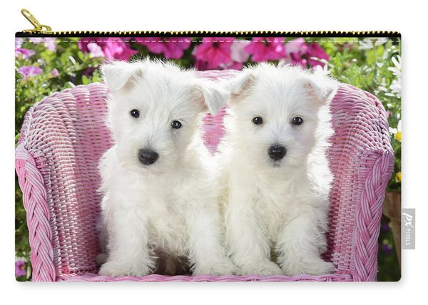 White Sitting Dogs Carry-all Pouch