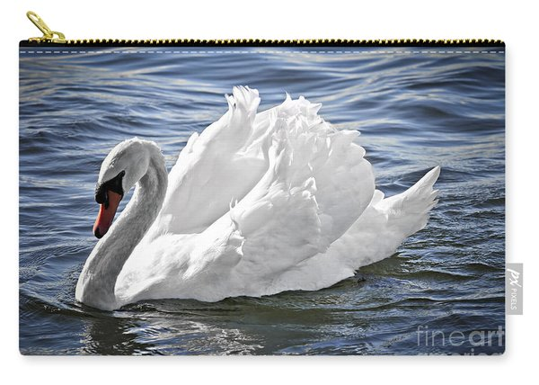 White Swan On Water Carry-all Pouch