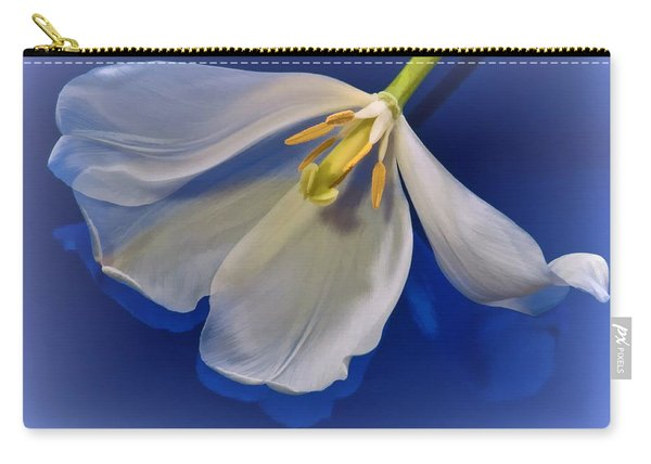 White Tulip On Blue Carry-all Pouch