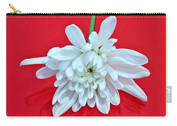 White Flower On Bright Red Background Carry-all Pouch