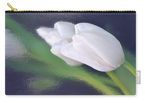 White Tulip Reflected In Dark Blue Water Carry-all Pouch