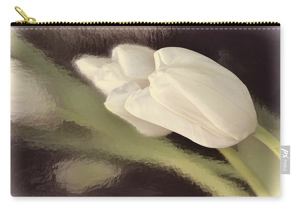 White Tulip Reflected In Misty Water Carry-all Pouch