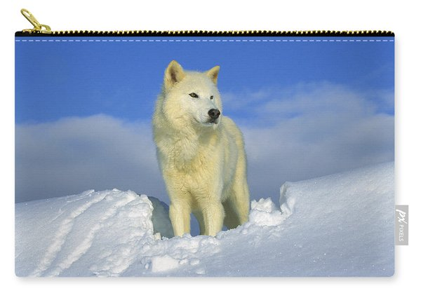 White Wolf In The Snow Idaho Carry-all Pouch
