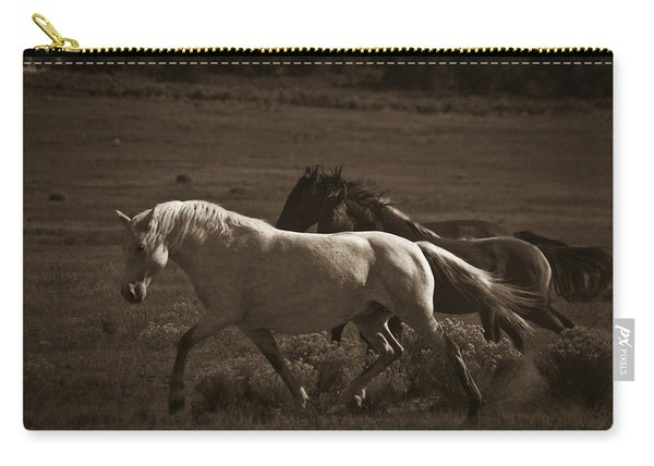 Carry-all Pouch featuring the photograph Wild Mustangs Of New Mexico 10 by Catherine Sobredo