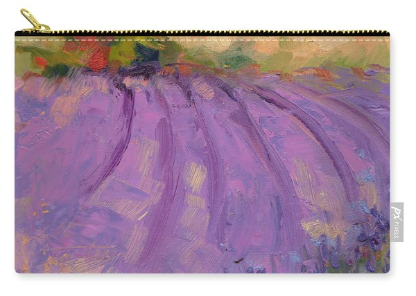 Carry-all Pouch featuring the painting Wildrain Lavender Farm by Talya Johnson