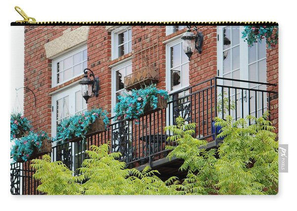 Blue Flowers On A Balcony  Carry-all Pouch