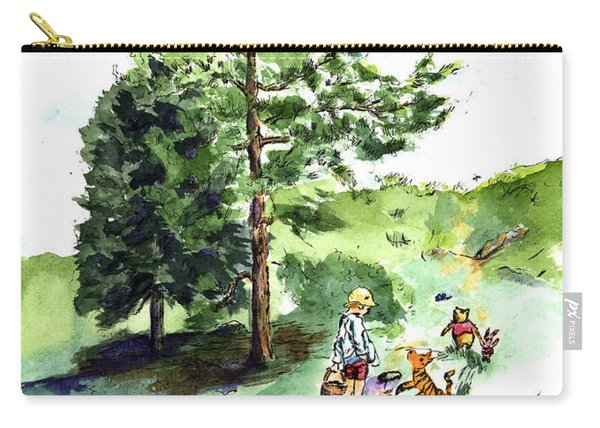 Winnie The Pooh With Christopher Robin After E H Shepard Carry-all Pouch