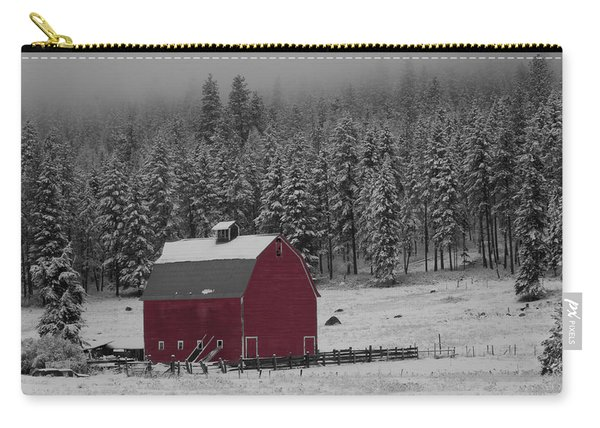 Winter Barn In Red Carry-all Pouch
