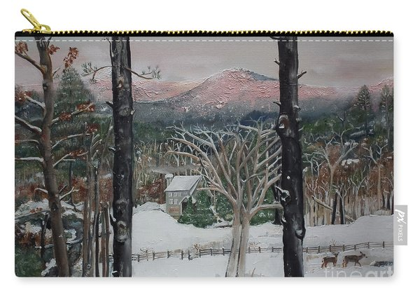 Winter - Cabin - Pink Knob Carry-all Pouch