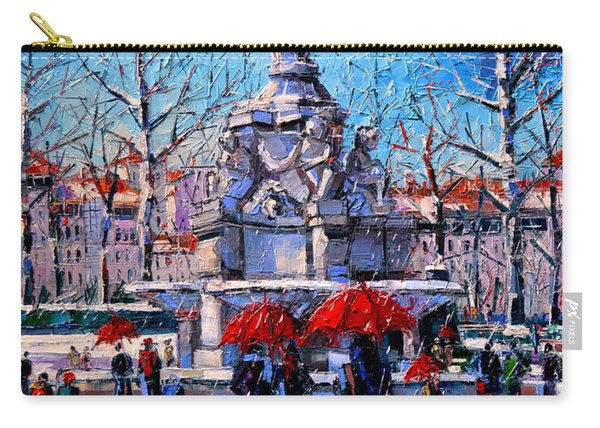 Winter City Scene - The Square  Marshal Lyautey In Lyon - France Carry-all Pouch