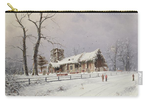 Winter Scene With Figures On A Path Near A Church Carry-all Pouch