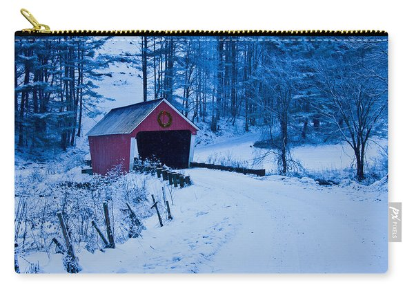 winter Vermont covered bridge Carry-all Pouch