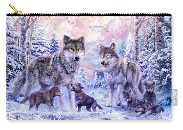 Winter Wolf Family  Carry-all Pouch