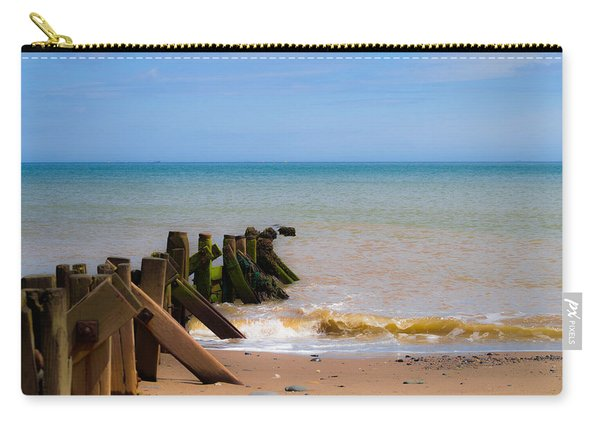 Carry-all Pouch featuring the photograph Withernsea Groynes by Scott Lyons