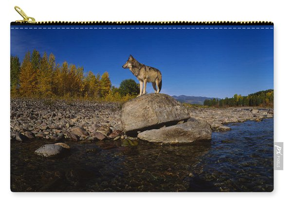 Wolf Standing On A Rock Carry-all Pouch