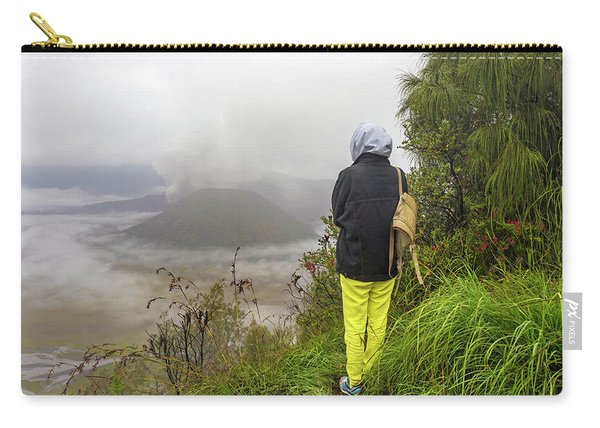 Woman Adventure Hiker On Mountain,east Carry-all Pouch