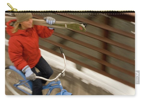 Woman Bikes Over Bridge With Skis Carry-all Pouch