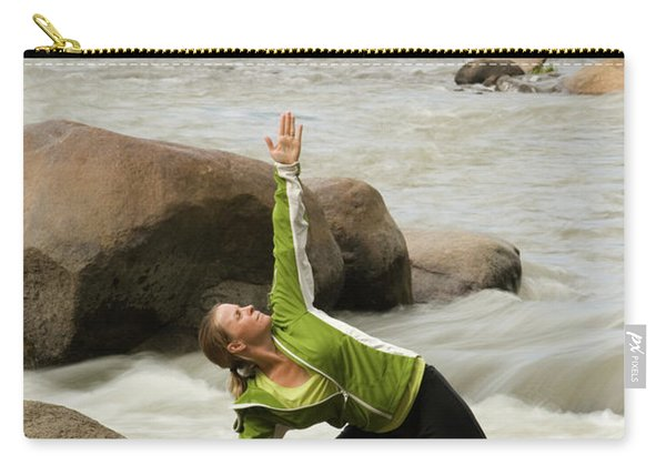 Woman Doing Yoga By River Carry-all Pouch