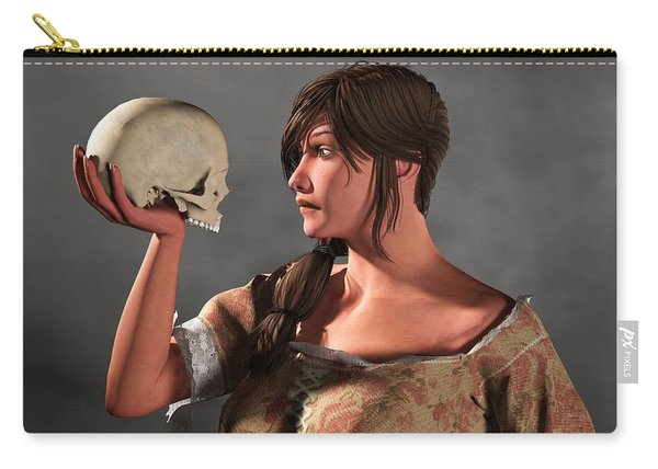 Woman Examining A Skull. Carry-all Pouch