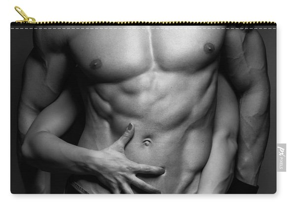 Woman Hands Touching Muscular Man's Body Carry-all Pouch