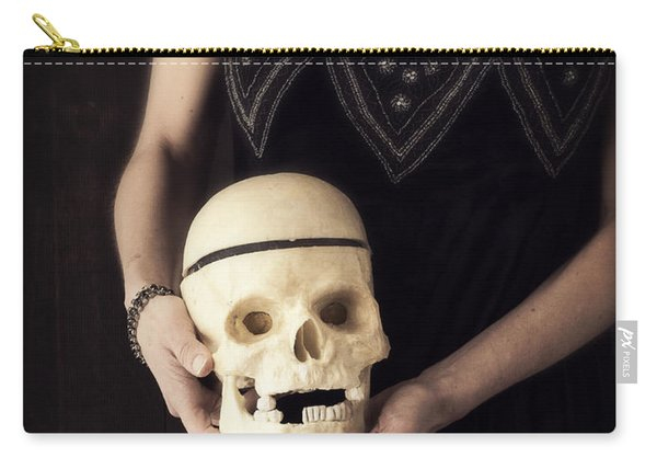 Woman Holding Skull Carry-all Pouch
